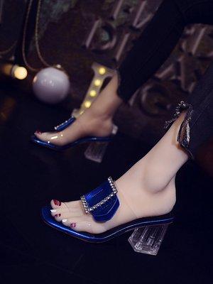 ~Linda~高跟鞋網紅涼拖鞋女2019新款時尚外穿百搭水晶透明水鑽粗跟涼鞋夏