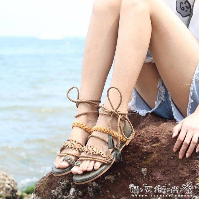 韓國民族風綁帶套趾復古羅馬涼鞋女百搭學生度假沙灘平底夾腳潮