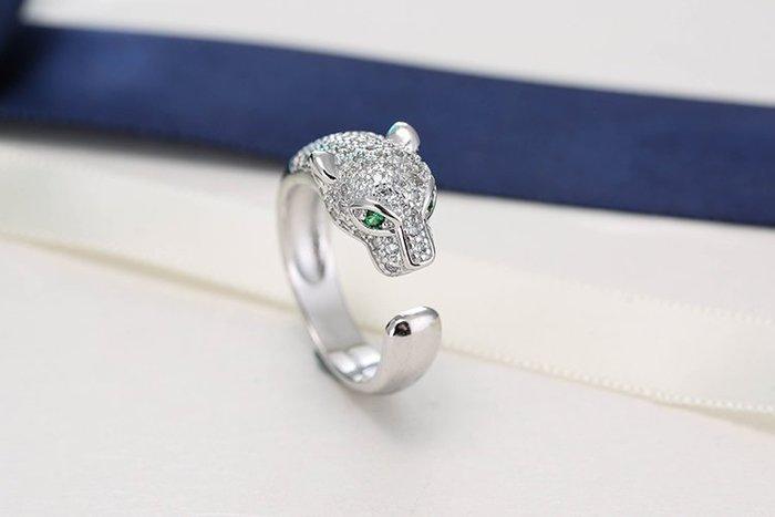 日韓時尚925純銀卡家豹款鋯石水鑽可調式開口戒指情人節禮物生日禮物