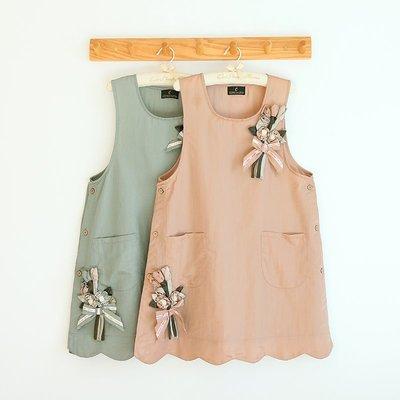 新款圍裙韓式時尚防水防油污廚房罩衣烘焙花藝咖啡廳畫畫工作服無袖圍裙