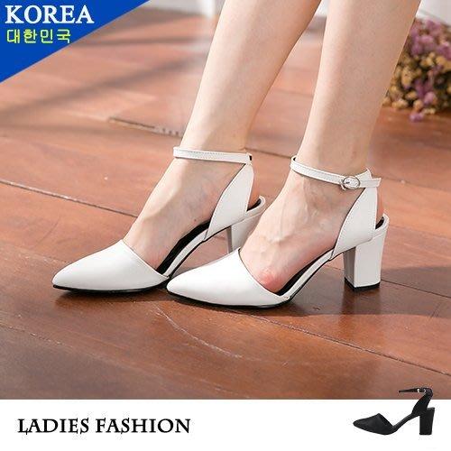 女款 韓國質感後交叉扣帶高跟 尖頭包鞋  Ovan