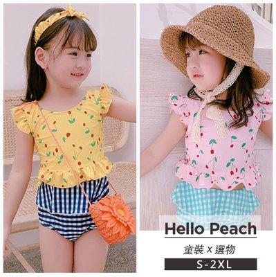 櫻桃格子小清新兩件式泳衣 女童裝 女童泳裝 Hello Peach