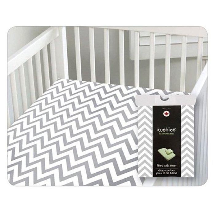 【兔寶寶部屋】加拿大原裝進口Kushies棉絨嬰兒床床包-淺灰小山紋71 x 132cm(厚床墊適用)