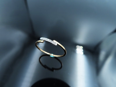%玉承珠寶%輕珠寶系列14k玫瑰金精緻天然鑽石斜線設計線戒/尾戒DR3(現貨1)