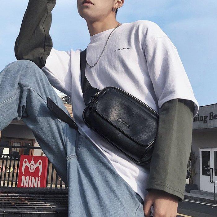 解憂zakka~ 時尚男女士小胸包 韓版新款皮質胸包腰包 休閑戶外運動騎行挎包潮#腰包#背包