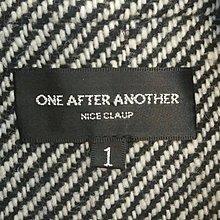 都會名牌~【Nice Claup副牌One after Another】黑白紋厚毛呢布腰帶都會風短外套~JY16
