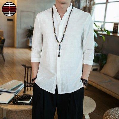 中國風中袖襯衫休閒男裝上衣棉麻七分袖襯衣v領亞麻襯衣男裝