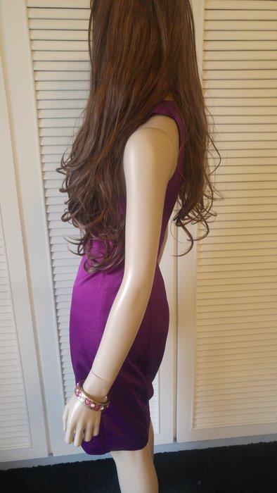美國 THE LIMITED 茄紫色削肩抓摺細腰絲緞小禮服