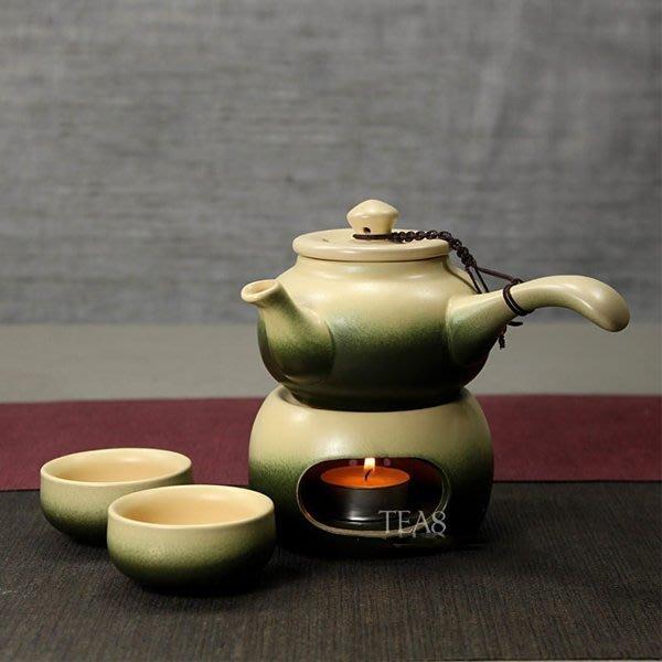 5Cgo【茗道】含稅會員有優惠 35513782721古陶側把壺+底爐+品茗杯蠟燭煮茶壺日式粗陶古風古韻陶瓷【二組 】
