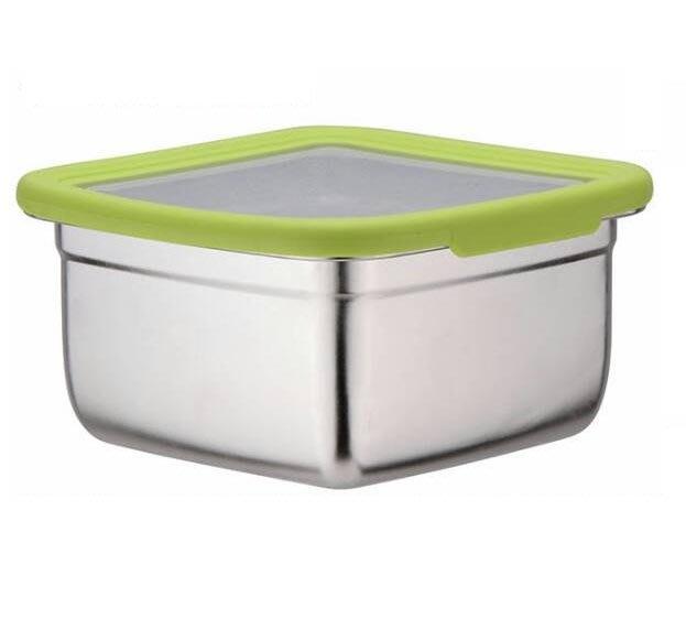 【GS】方形304不銹鋼密封保鮮盒(綠色)2100ML CI-2100BA 通過SGS認證