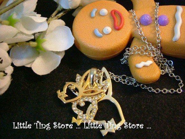 Little Ting Store: 春吶3個重疊兔子PlayBoy造型鑽兔水晶鑽飾品長項鍊串鏈珠頸鍊