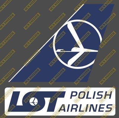 波瀾LOT航空 垂直尾翼與機身商標 貼紙  尺寸上63x86mm 下 23x90mm