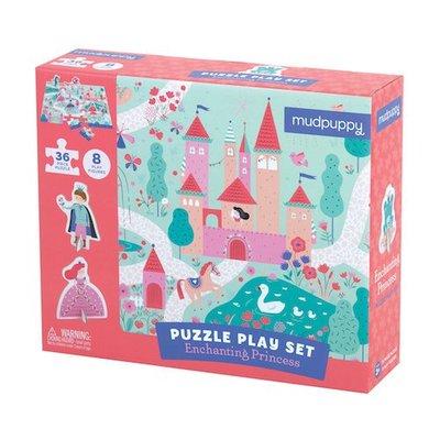 *小貝比的家*ENCHANTING PRINCESS/PUZZLE PLAY SET/拼圖+8片人偶動物立牌/3~6歲