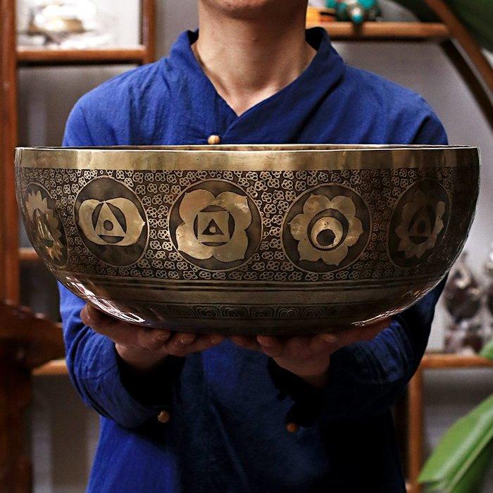 佛教用品 大號頌缽定制尼泊爾手工頌缽西藏佛音缽瑜伽冥想療愈音療頌缽擺件
