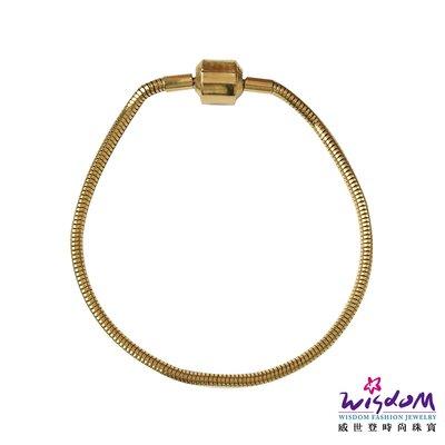威世登 白鋼鍍黃K金DIY串飾專用手環-NC00010-FFX
