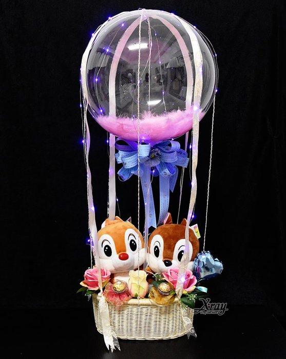 X射線【Y572865】10吋奇奇蒂蒂幸福熱氣球,Disney/捧花/情人節禮物/熱氣球/金莎花束/亮燈花束/告白