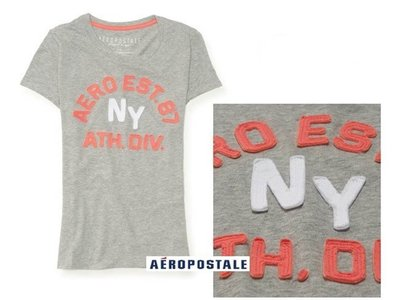 美國正品Aeropostale[Aero] 美式休閒短袖T / 灰 ~S (編號:2130 )