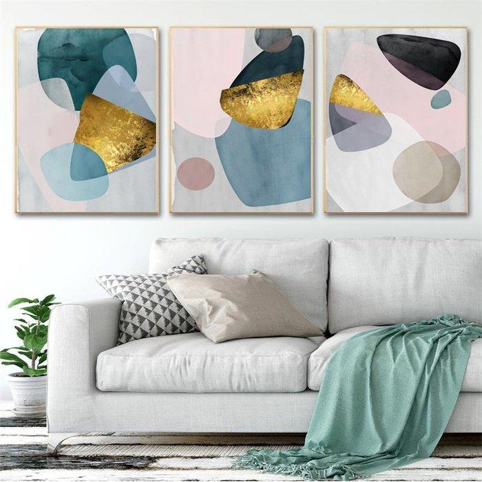 北歐風抽象現代簡約形意彩色圖形色塊裝飾畫高清微噴(3款可選)