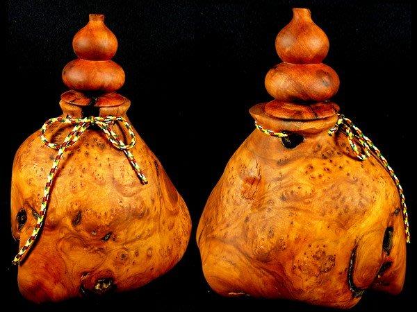[福田工藝]檀香釘仔瘤閃花天彫隨形福祿袋聚寶瓶/木質堅硬氣味芳醇油脂豐厚滿瘤花[瓶9]