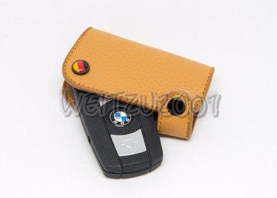 BMW E系列 鑰匙皮套 鑰匙保護套 鑰匙包 真牛皮 手工製作 M POWER 淡咖啡 德國國旗 M11