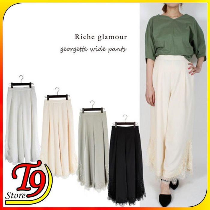 【T9store】日本進口 雪紡裙蕾絲縫寬褲