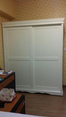 美生活館 全新 美式鄉村風格 客訂 實木 雙推百葉門 白色 衣櫥 /衣櫃-定金