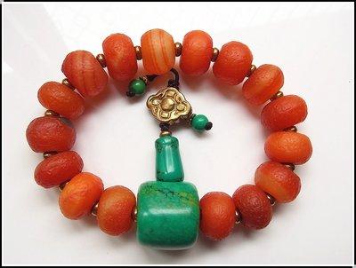 【雅之賞|藏傳|佛教文物】特賣* 優質天然瑙珠15-16mm+綠松石三通手珠~501257