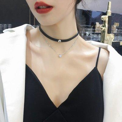 FAINO 網紅脖頸項鏈女潮皮革項圈小眾脖子裝飾品短款頸帶頸鏈配飾鎖骨鏈