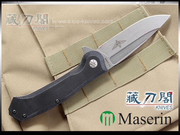 《藏刀閣》Maserin-(Police)軍警用黑色G10柄+鈦柄折刀