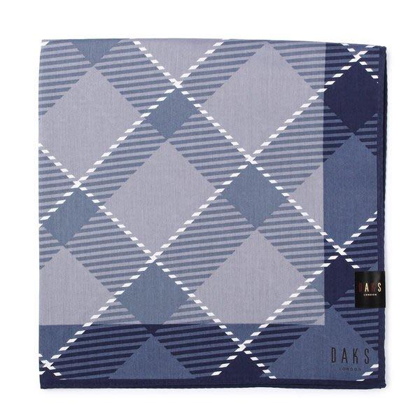 【姊只賣真貨】DAKS經典格紋100%純棉男用帕巾領巾手帕(灰藍色)父親節88節禮物