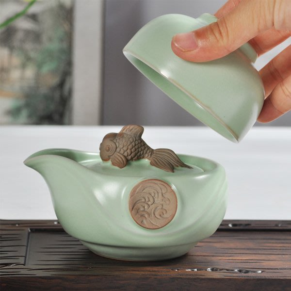 5Cgo【茗道】含稅會員有優惠 521908005139 汝窯功夫茶具快客杯一人旅行辦公車上茶杯一壺一杯開片個人專用茶杯