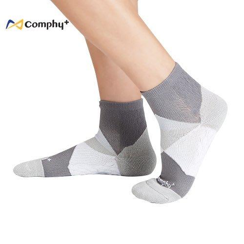 【線上體育】COMPHY+ 阿瘦集團 幾何短襪-淺灰 L