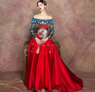 哆啦本鋪 中式秀禾服紅色復古禮服 明星同款新娘秀禾服敬酒服拖尾D655