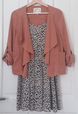 Stand up 30~二手衣~日系粉紅咖啡厚雪紡外套 搭配洋裝、褲裝都好好看~日貨店購入