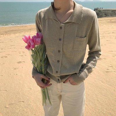 春季新款小翻領單排扣修身針織開衫毛衣外套女裝WT7082