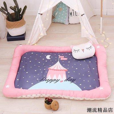 北歐全棉隔尿地墊床中床四維防護冰絲墊休閑游戲爬爬墊可機洗