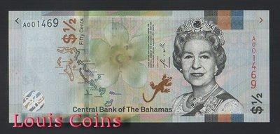 【Louis Coins】B759-BAHAMAS--2019巴哈馬紙幣50 Cents