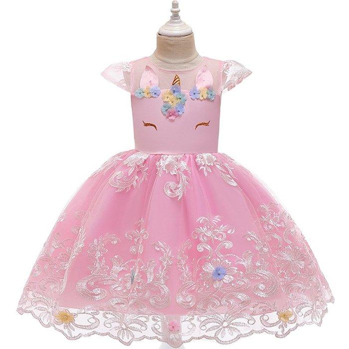 •*~ 辣媽咪衣飾小舖 ~*•❤童裝系列❤K970441韓版大童夏款甜美清新時尚蓬蓬蕾絲花朵可愛公主禮服公主洋裝