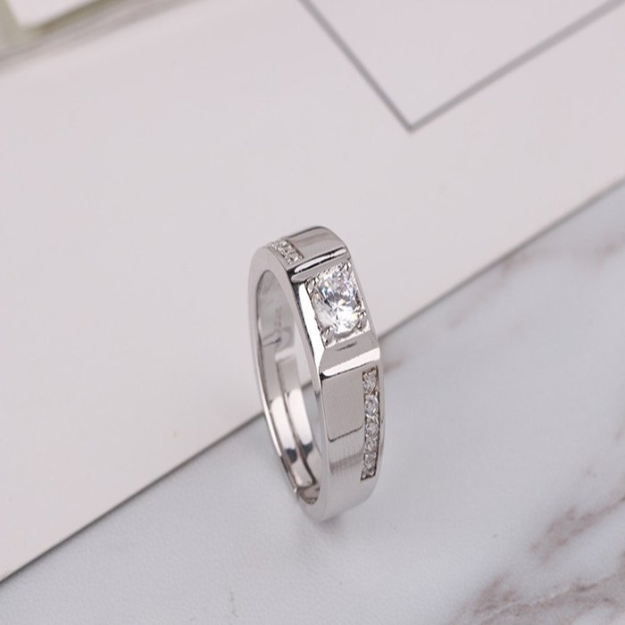 日韓時尚單排鑽男戒鋯石水鑽可調式開口戒指情人節禮物生日禮物買一送二