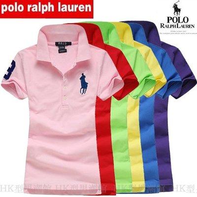 免運 Polo Ralph Lauren 拉夫勞倫 短袖T恤 女RL保羅大馬標Polo衫 翻領 拼色 多色可選