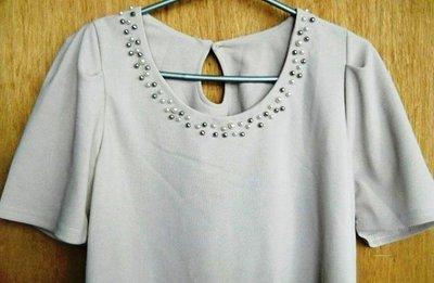 韓版秋裝 混色珍珠繡領 裸膚色 小包袖 洋裝~一元起標