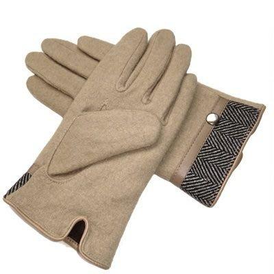 羊毛手套男手套-皮革邊金屬扣防寒加厚加保暖時尚配件72q3[獨家進口][巴黎精品]