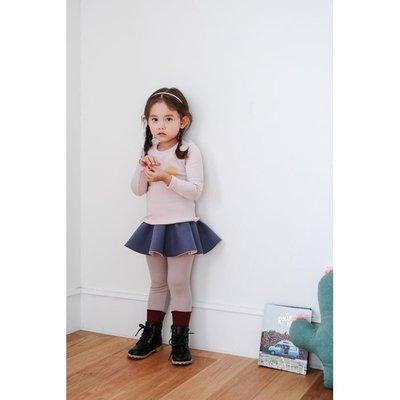 小萌熊正韓童裝 ORANGE MOM 太空棉假兩件式彈性褲裙 內搭紫色
