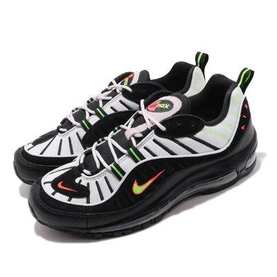 =CodE= NIKE AIR MAX 98 3M反光氣墊慢跑鞋(黑白螢光綠)640744-015 周湯豪 NEON 男