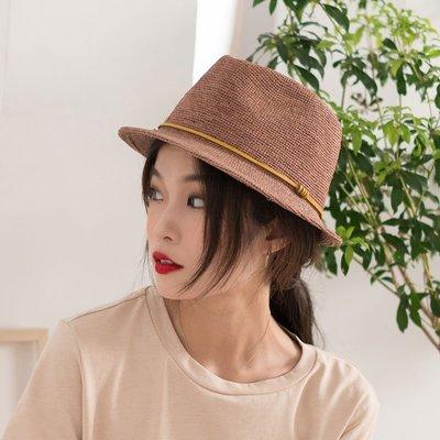 1cm4行手編自然拉菲草 好版型夏禮帽子男女通用休閑日常遮陽草帽