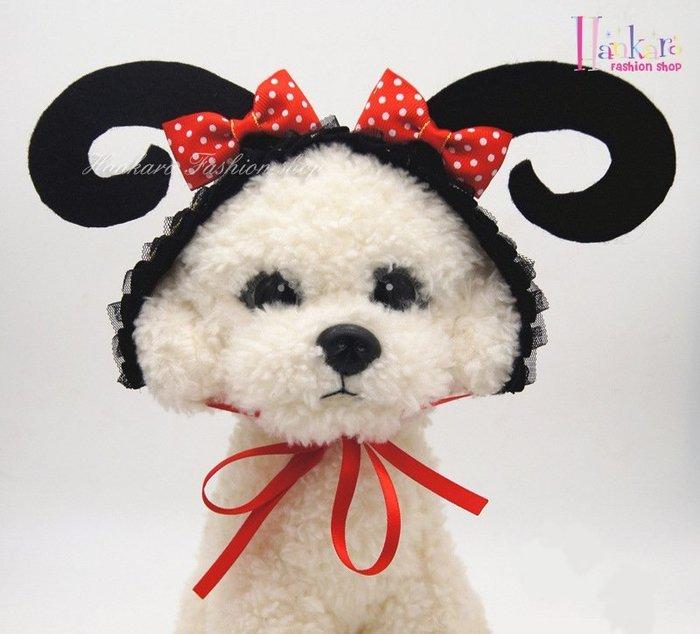 ☆[Hankaro]☆ 寵愛毛小孩搞怪蝴蝶結牛角造型頭飾裝扮(共三種尺寸)