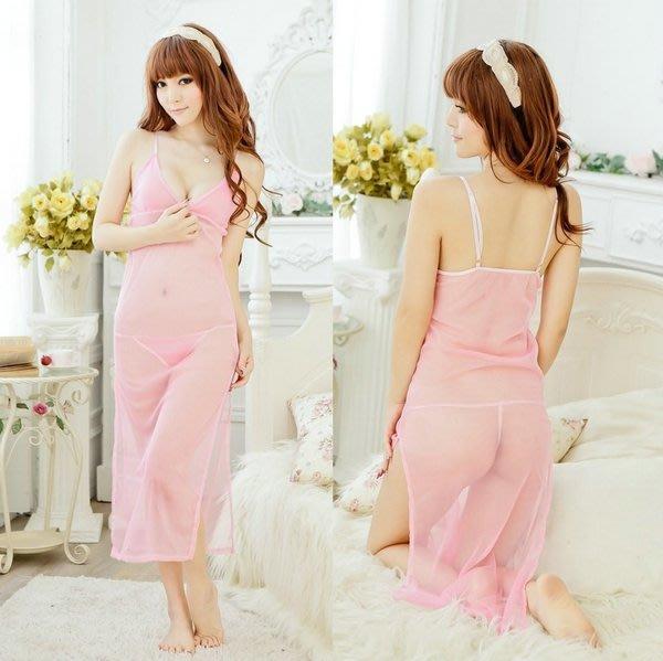 性感長版粉色薄紗睡裙女生衣著情趣內睡衣入門款