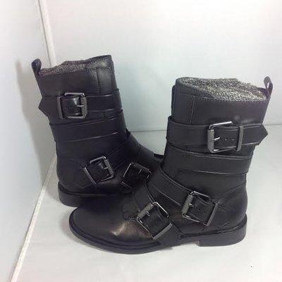 ASH -全新正品女款POSTPONE 真皮皮帶扣中靴 黑色  350506