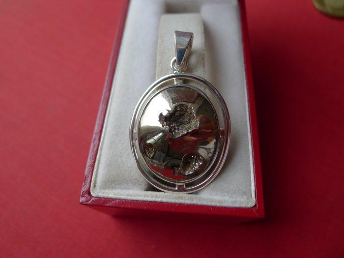 【銀工坊 單一價】925純銀天然天鐵螺化石銀墜02~~給第一標