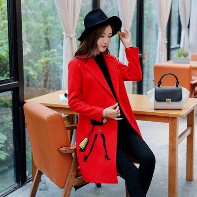 'OVERCOAT'秋冬韓版外套女加棉顯瘦長款雙面尼毛呢外套修身毛呢大衣